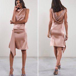 Reiss Serenella Draped Satin Dress in Blush Size 6